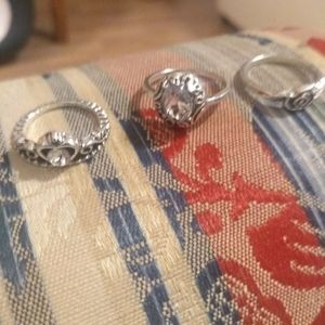 Set of 3 Sterling Silver rings. Size 5